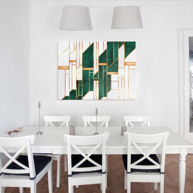 Glasbild - Elisabeth Fredriksson - Emerald und Gold Geometrie - Querformat 4:3