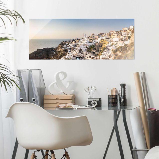 Glasbild - Oia Panorama - Panorama