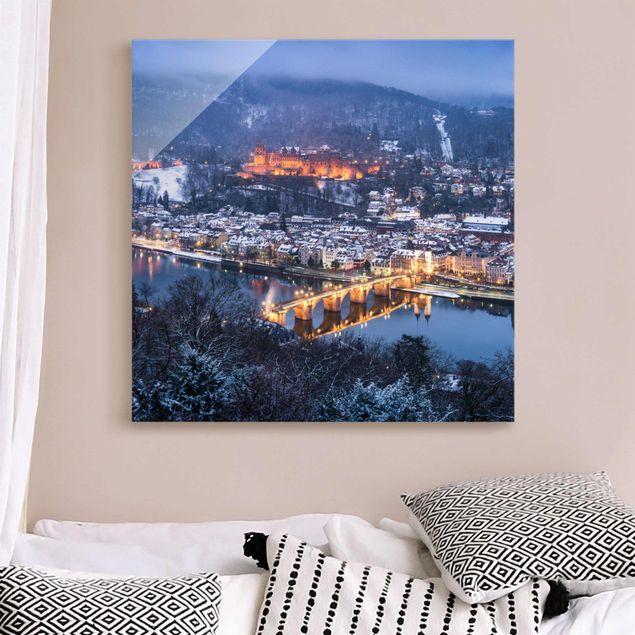 Glasbild - Winterliches Heidelberg - Quadrat 1:1