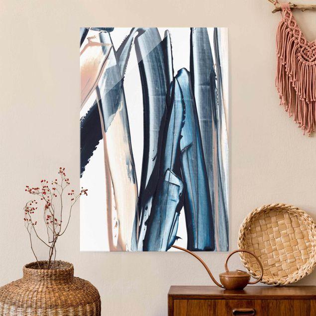 Glasbild - Blau und Beige Streifen - Hochformat 2:3