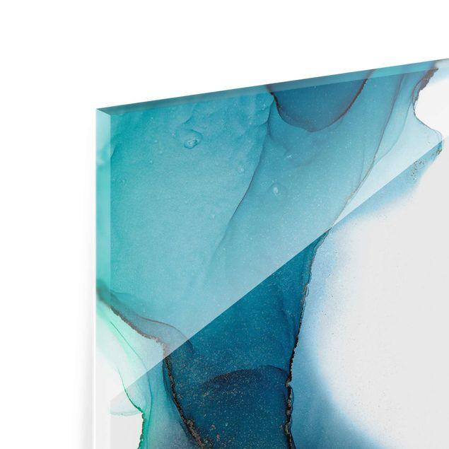 Glasbild - Ozeantropfen Türkis mit Gold - Panel
