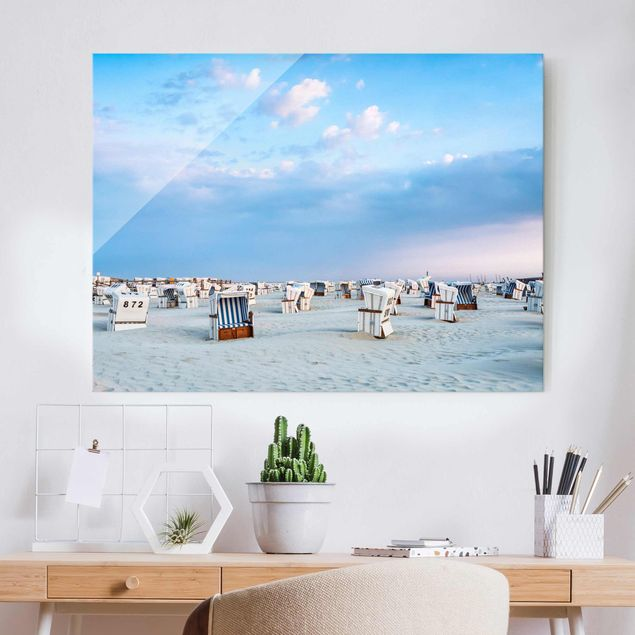 Glasbild - Strandkörbe an der Nordsee - Querformat 4:3