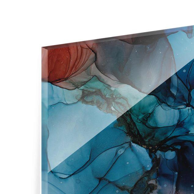 Glasbild - Unterwasser in Petrol und Rot mit Gold - Querformat 3:2
