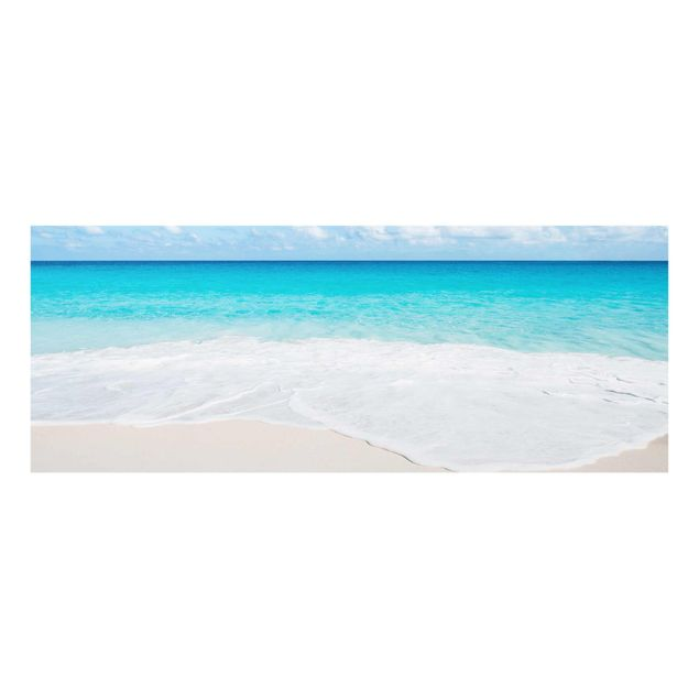 Glasbild - Blaue Welle - Panorama