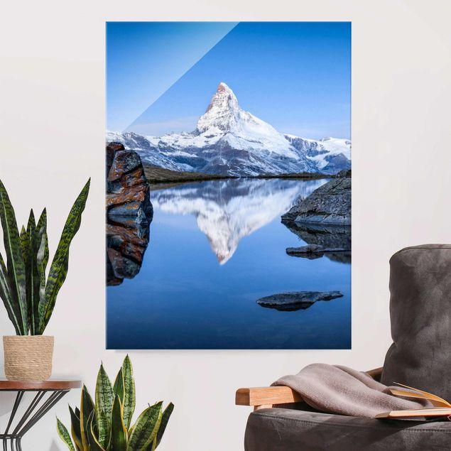 Glasbild - Stellisee vor dem Matterhorn - Hochformat 3:4