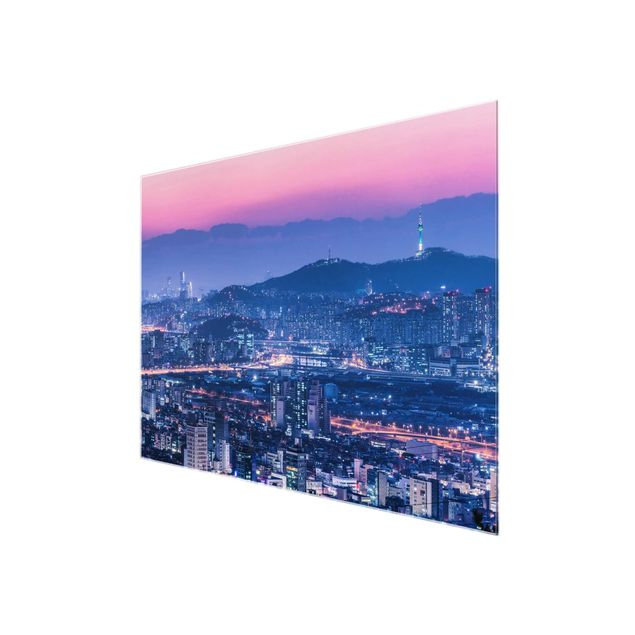 Glasbild - Skyline von Seoul - Querformat 4:3