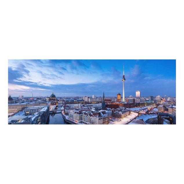 Glasbild - Schnee in Berlin - Panorama