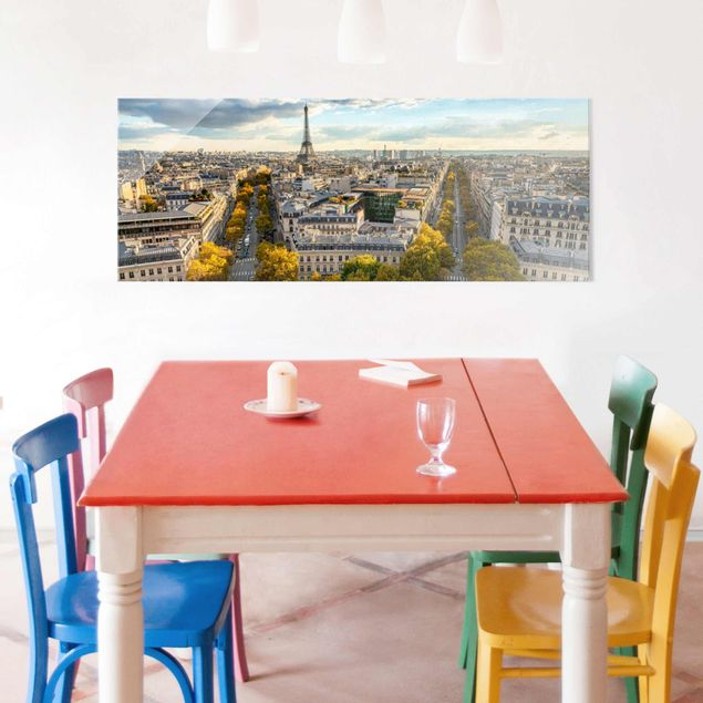 Glasbild - Nice day in Paris - Panorama