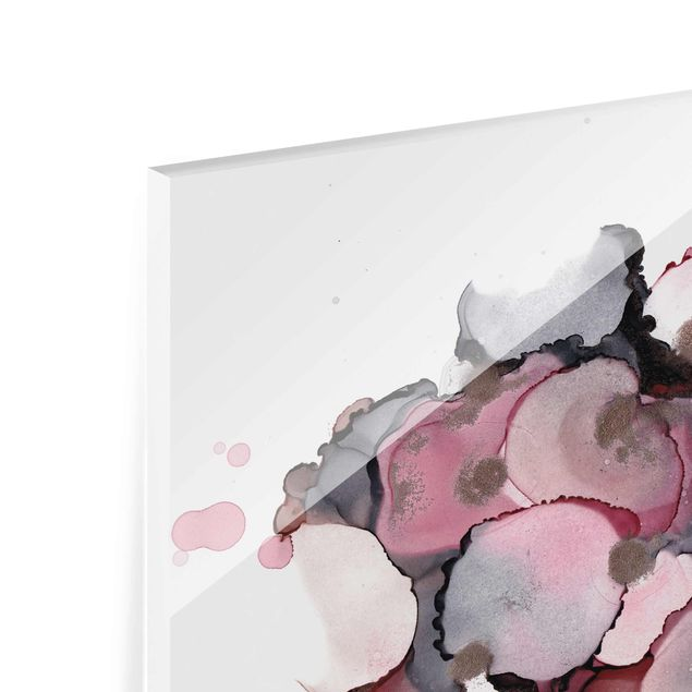 Glasbild - Pink-Beige Tropfen mit Roségold - Querformat 4:3