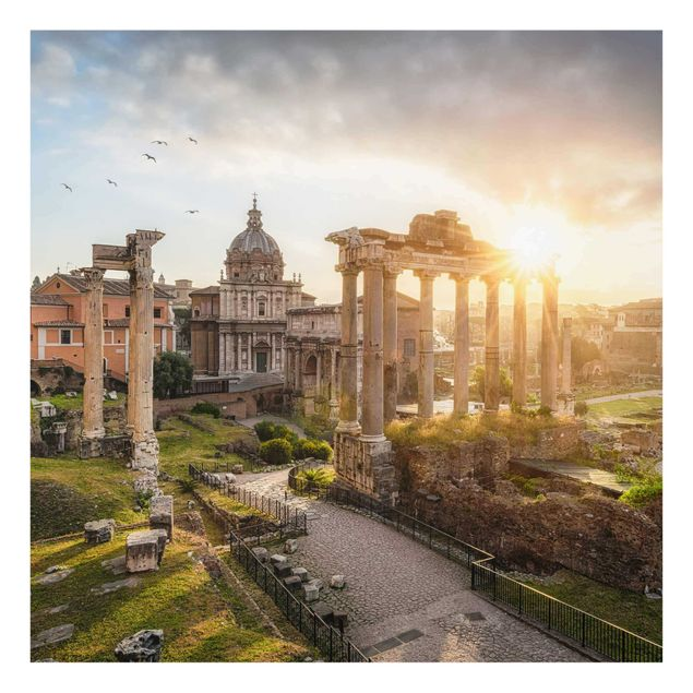Glasbild - Forum Romanum bei Sonnenaufgang - Quadrat 1:1
