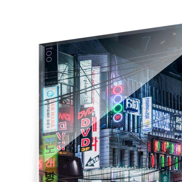 Glasbild - Nachtleben von Seoul - Querformat 3:2