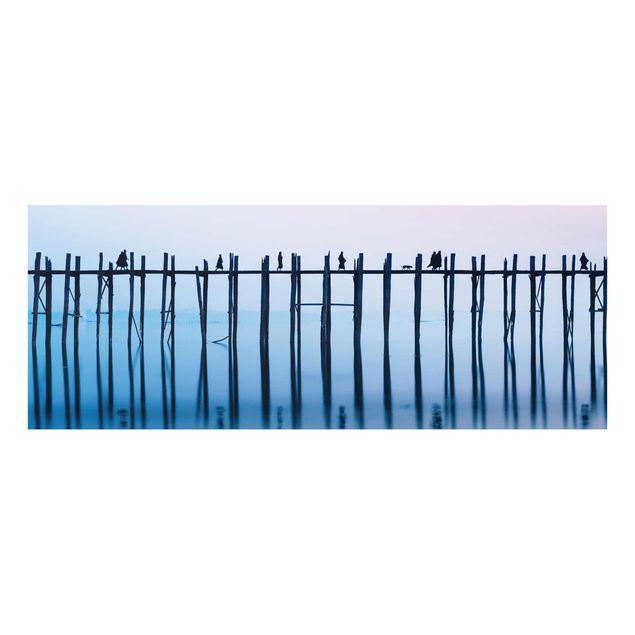 Glasbild - U-Bein Brücke in Myanmar - Panorama