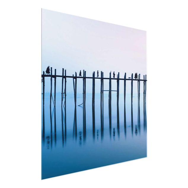 Glasbild - U-Bein Brücke in Myanmar - Quadrat 1:1