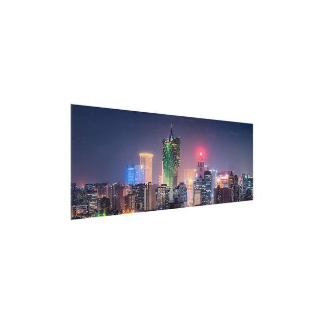 Glasbild - Nachtlichter von Macau - Panorama