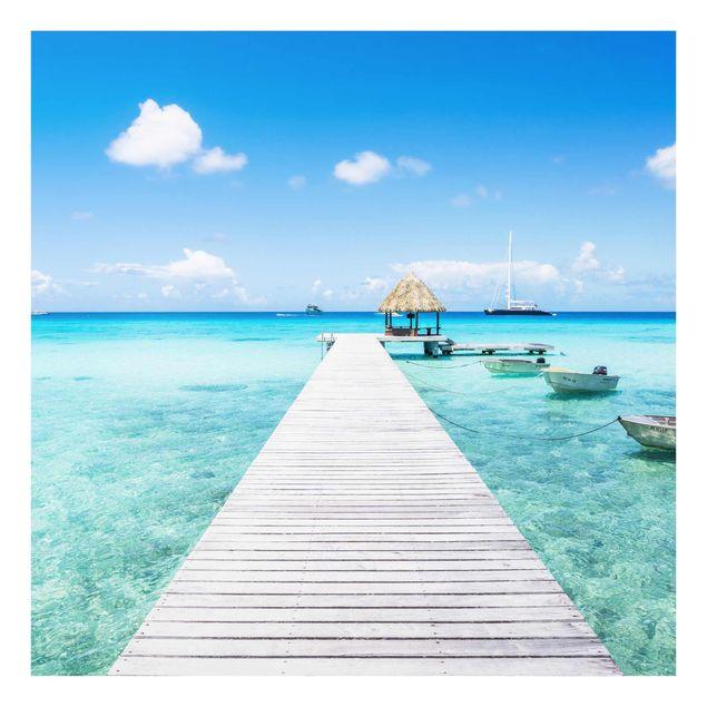 Glasbild - Urlaub in den Tropen - Quadrat 1:1