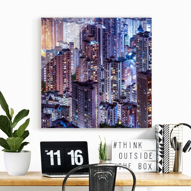 Glasbild - Hongkong Lichtermeer - Quadrat 1:1
