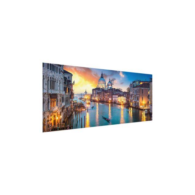 Glasbild - Sunset in Venice - Panorama