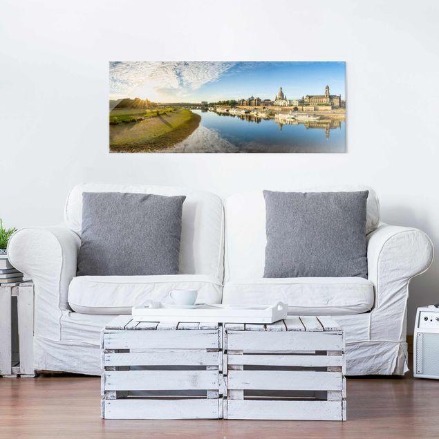 Glasbild - Die Weiße Flotte von Dresden - Panorama