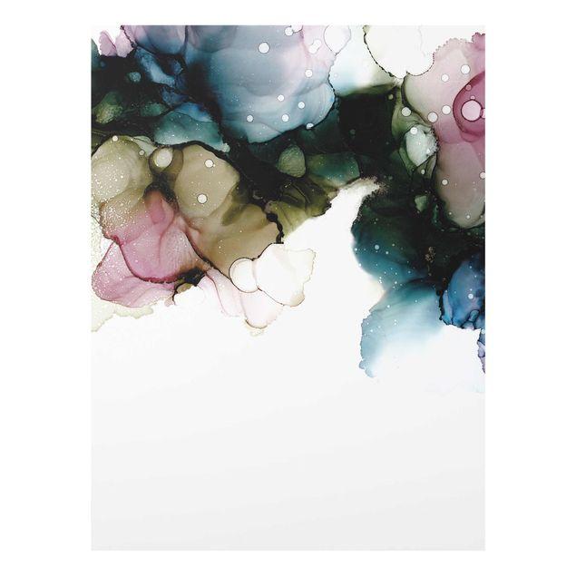 Glasbild - Blumenbogen mit Gold - Hochformat 3:4