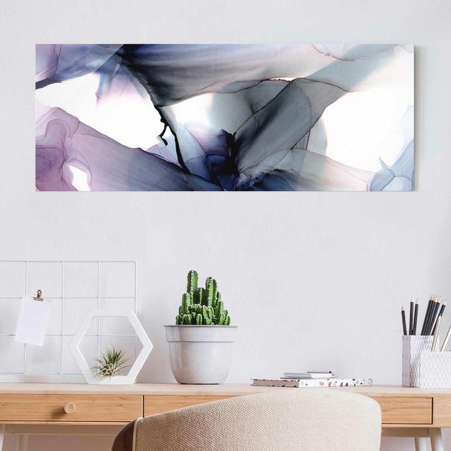 Glasbild - Violett im Fluss - Panorama
