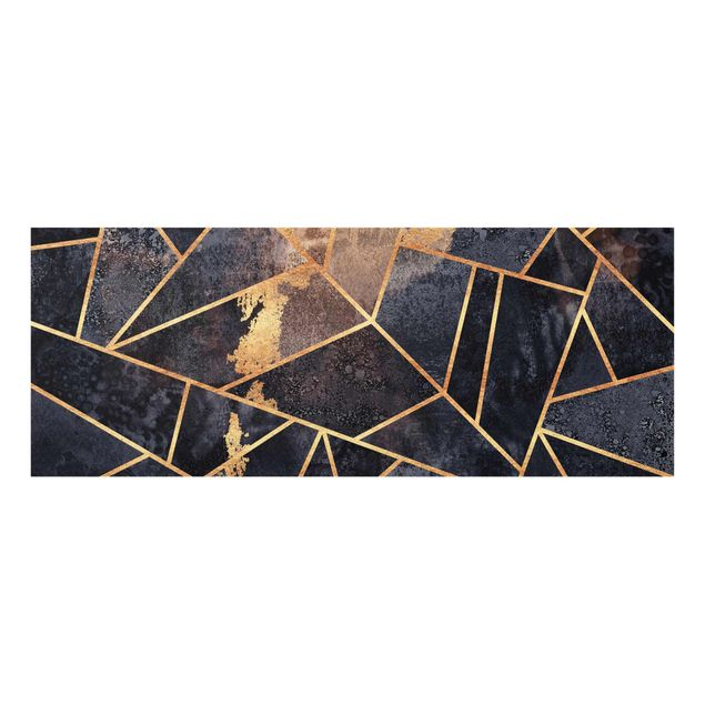 Glasbild - Elisabeth Fredriksson - Onyx mit Gold - Panorama