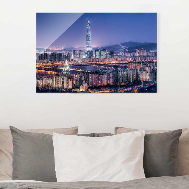 Glasbild - Lotte World Tower bei Nacht - Querformat 3:2