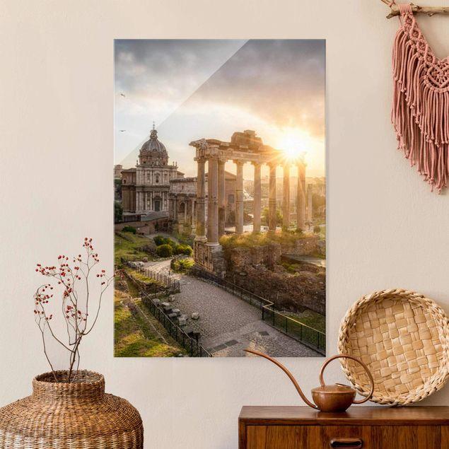 Glasbild - Forum Romanum bei Sonnenaufgang - Hochformat 2:3