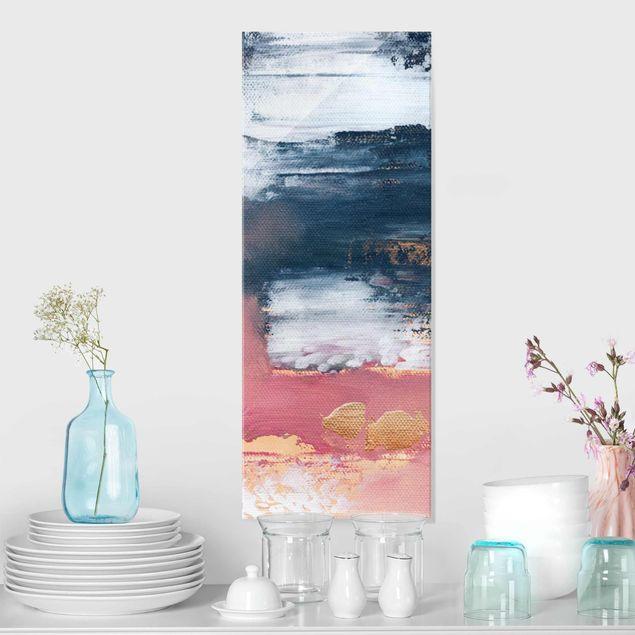 Glasbild - Elisabeth Fredriksson - Rosa Sturm mit Gold - Panel
