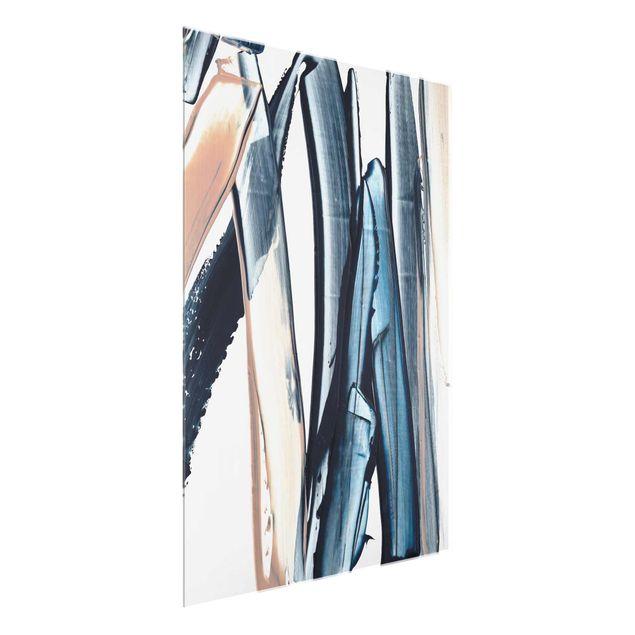 Glasbild - Blau und Beige Streifen - Hochformat 3:4