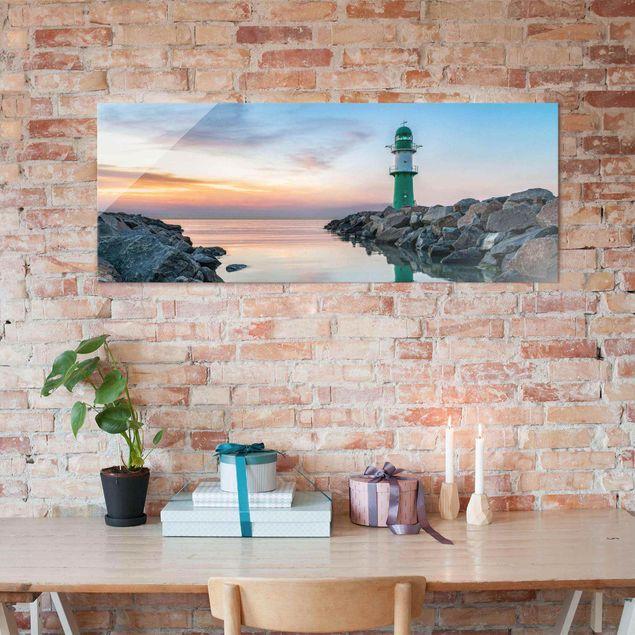 Glasbild - Sunset at the Lighthouse - Panorama