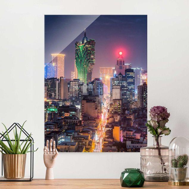 Glasbild - Nachtlichter von Macau - Hochformat 3:4