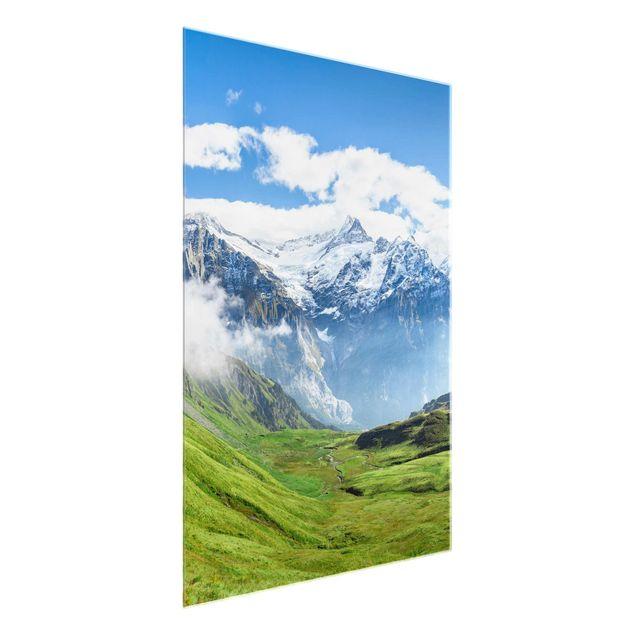 Glasbild - Schweizer Alpenpanorama - Hochformat 3:4