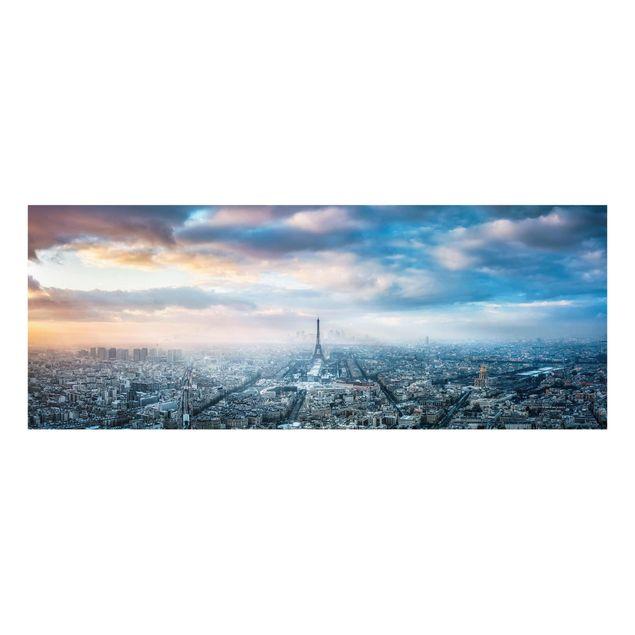 Glasbild - Winter in Paris - Panorama