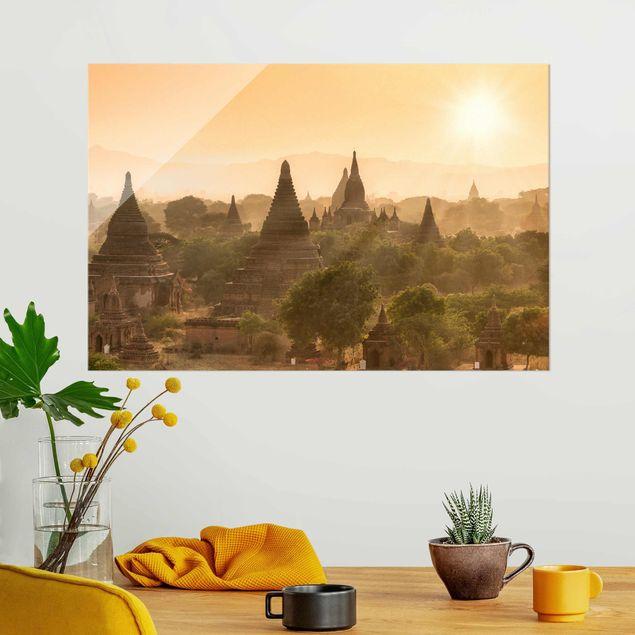 Glasbild - Sonnenuntergang über Bagan - Querformat 3:2