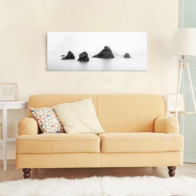 Glasbild - Meoto Iwa - die verheirateten Felsen - Panorama