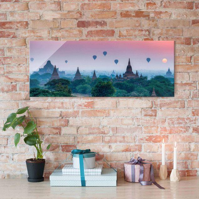 Glasbild - Heißluftballons über Tempelanlage - Panorama