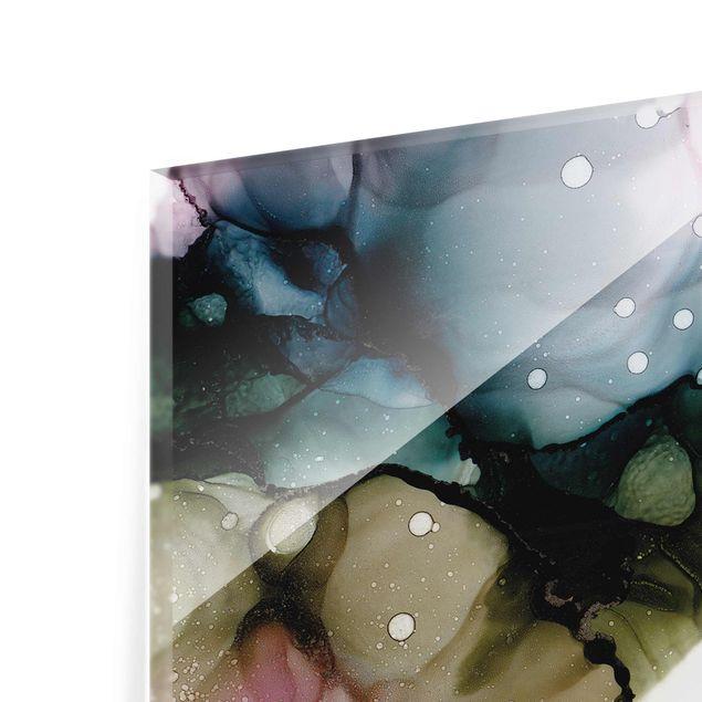 Glasbild - Blumenbogen mit Gold - Hochformat 2:3