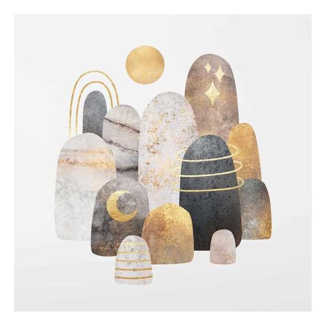 Glasbild - Elisabeth Fredriksson - Gold Berge mit Mond - Quadrat 1:1