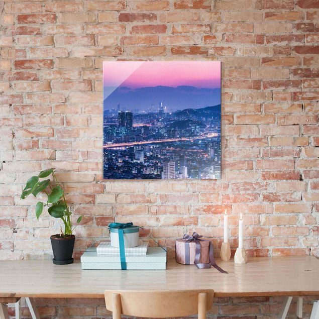 Glasbild - Skyline von Seoul - Quadrat 1:1