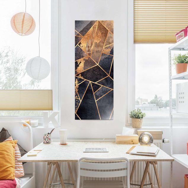 Glasbild - Elisabeth Fredriksson - Onyx mit Gold - Panel