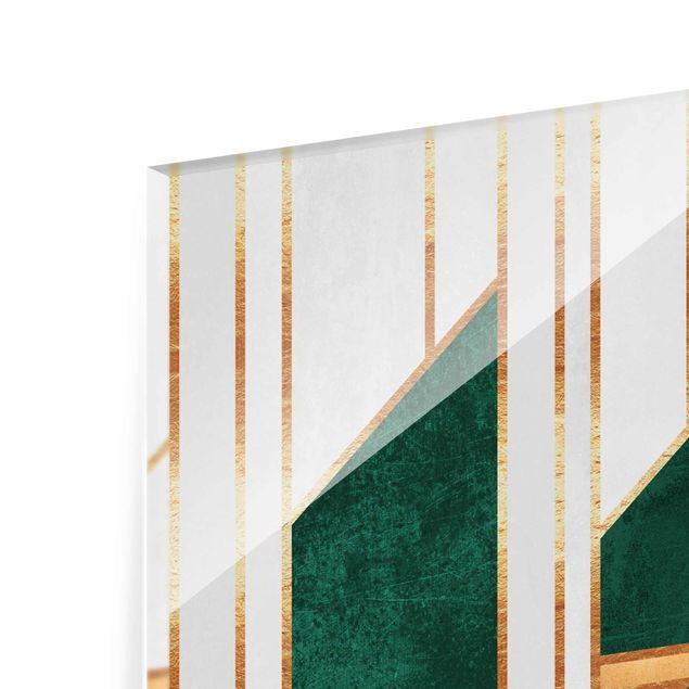 Glasbild - Elisabeth Fredriksson - Emerald und Gold Geometrie - Hochformat 2:3