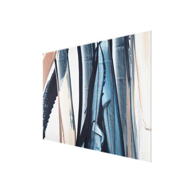 Glasbild - Blau und Beige Streifen - Querformat 4:3