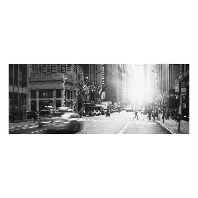 Glasbild - Lebhaftes New York - Panorama