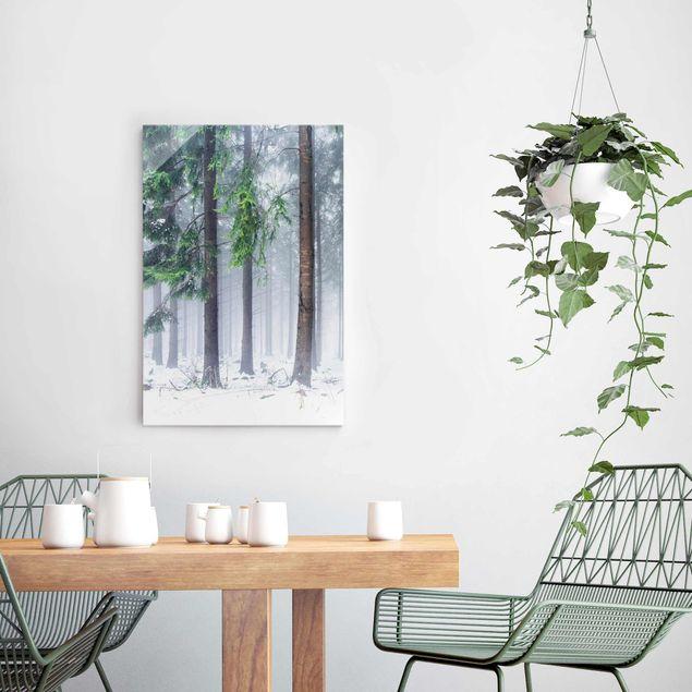 Glasbild - Nadelbäume im Winter - Hochformat 2:3