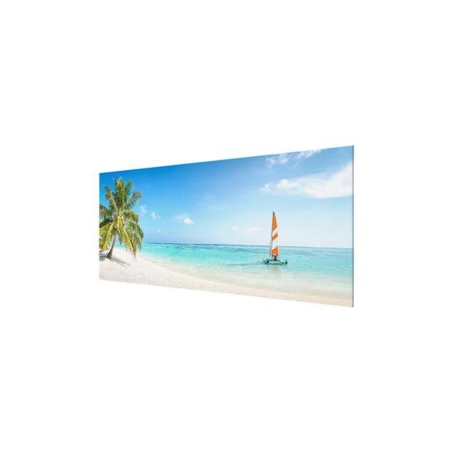 Glasbild - Katamaran auf dem Indischen Ozean - Panorama