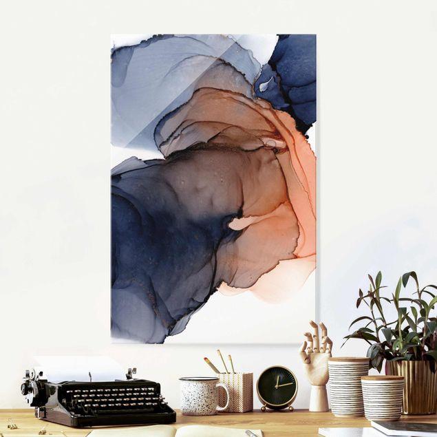 Glasbild - Ozeantropfen Blau-Orange mit Gold - Hochformat 2:3