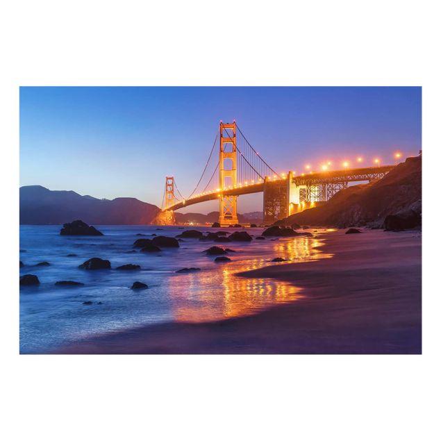 Glasbild - Golden Gate Bridge am Abend - Querformat 3:2
