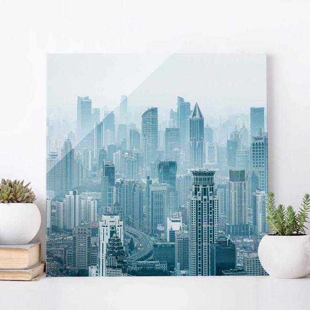 Glasbild - Kühles Shanghai - Quadrat 1:1