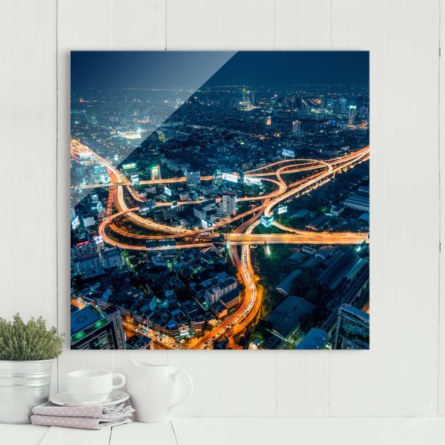 Glasbild - Eine Nacht in Bangkok - Quadrat 1:1