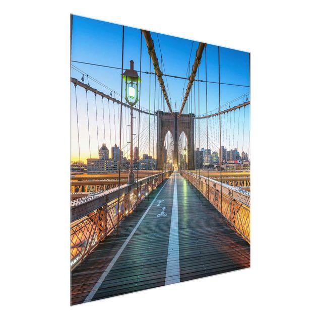 Glasbild - Morgenblick von der Brooklyn Bridge - Quadrat 1:1